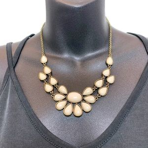 Gold & Cream White Enamel Statement Bib Necklace